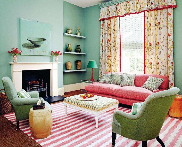 Мятный цвет сочетание с другими цветами в интерьере гостиной