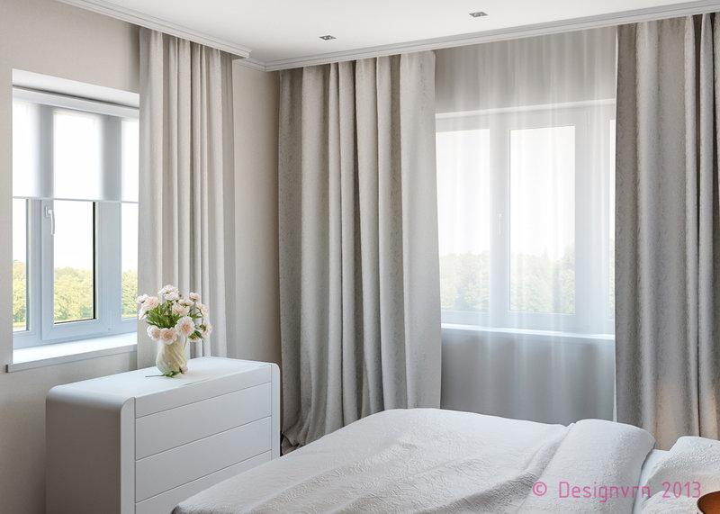 Спальня два окна дизайн