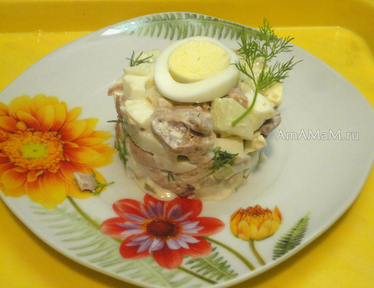Салат с сельдереем и печенью трески рецепт с очень вкусный