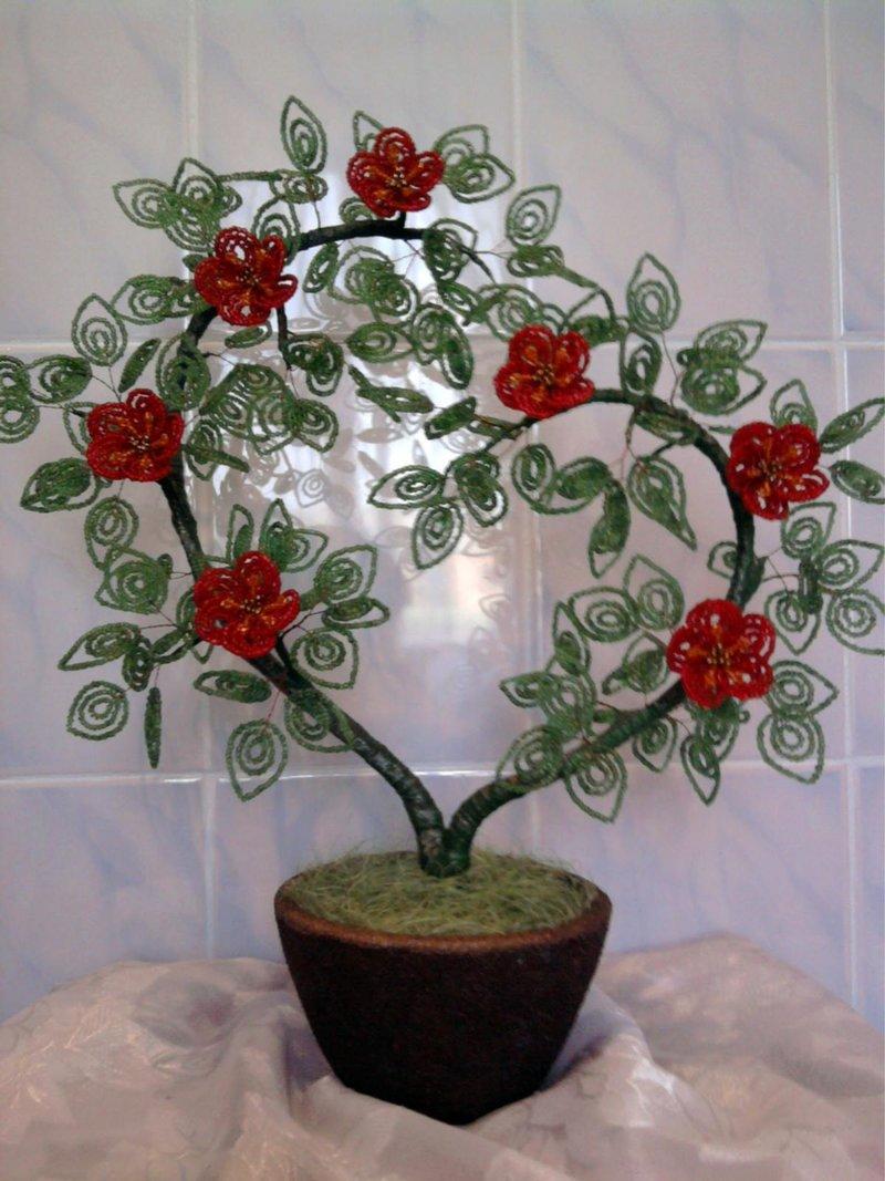 Дерево сердце из бисера мастер класс с пошаговым для начинающих
