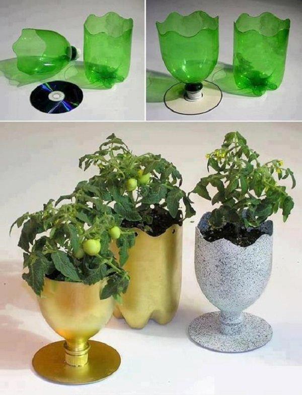 Горшочки из пластиковых бутылок своими руками фото 3