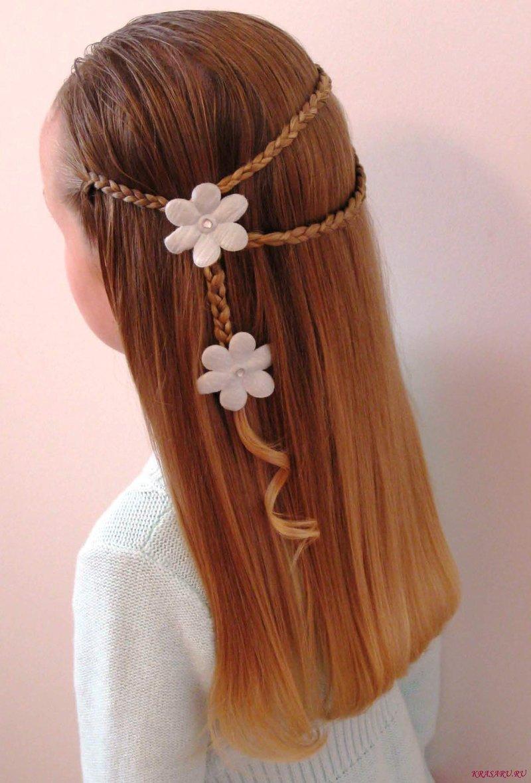 Новогодняя прическа для девочки средней длины волос