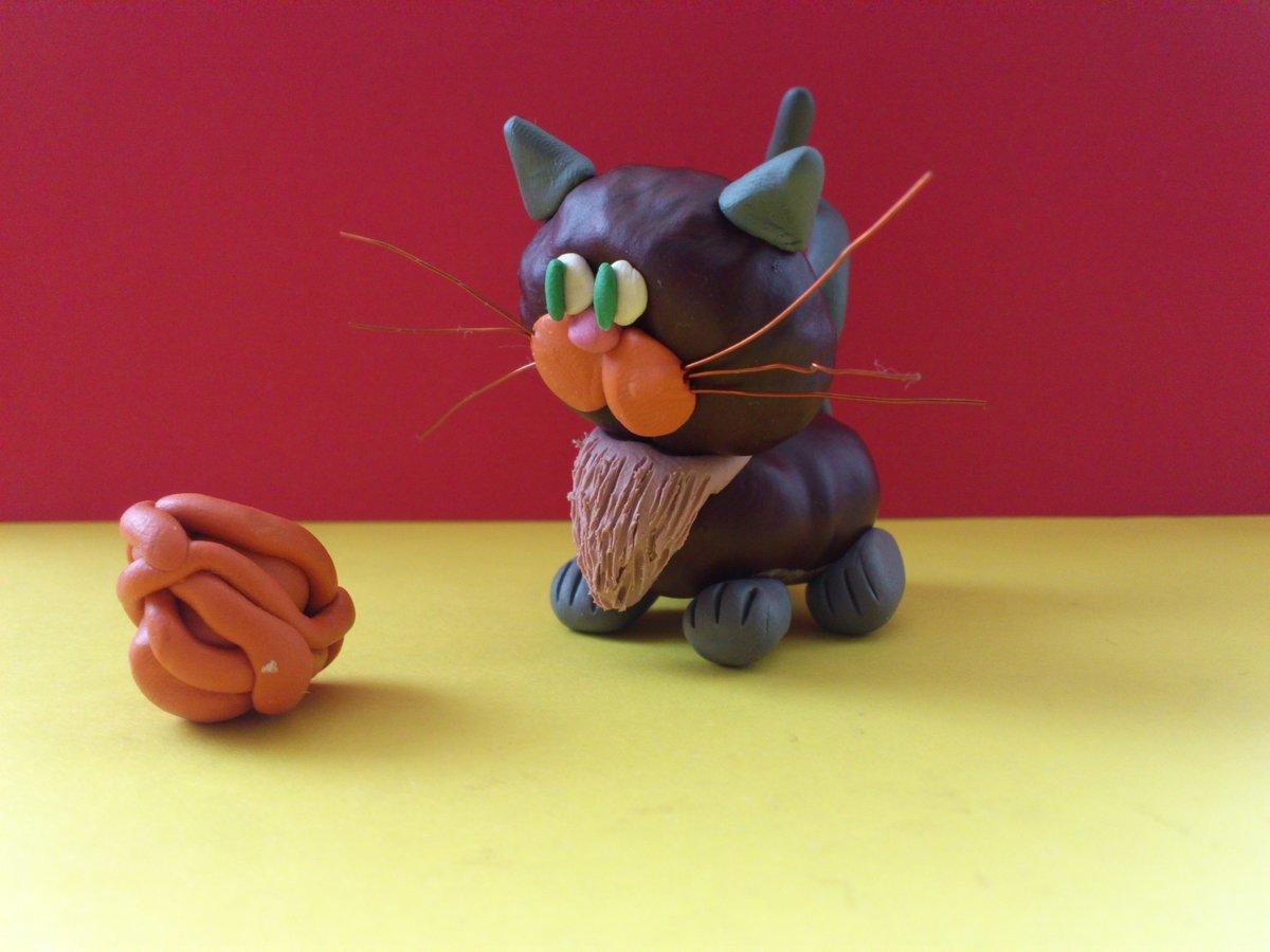 Поделки из природных материалов кошка