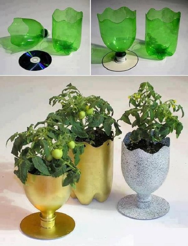 Горшок из пластиковых бутылок своими руками