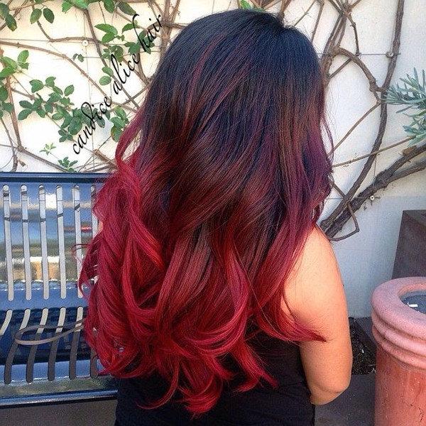 Покраска волос с красным цветом