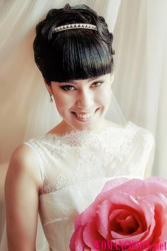 Фото свадебных прически с челкой