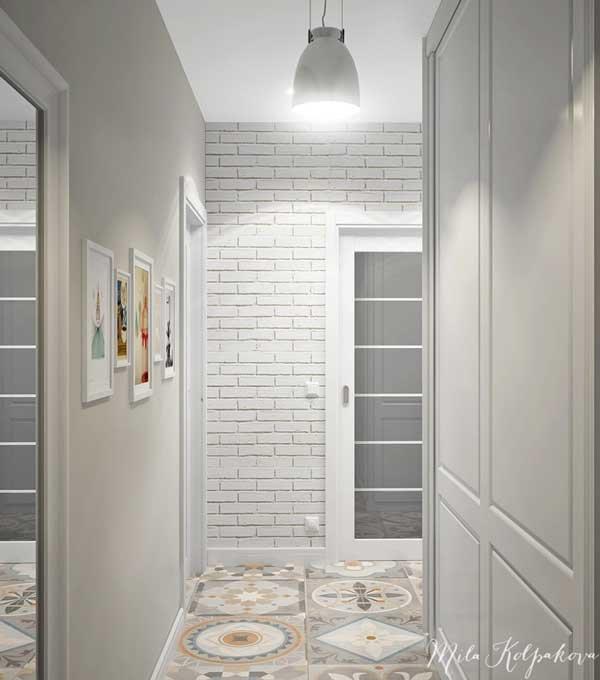 Коридор дизайн с белыми дверями