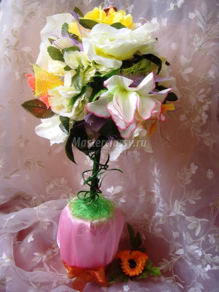 Топиарий из искусственных цветов мастер класс пошаговое