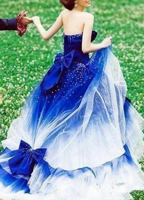 Свадебные платья синего цвета