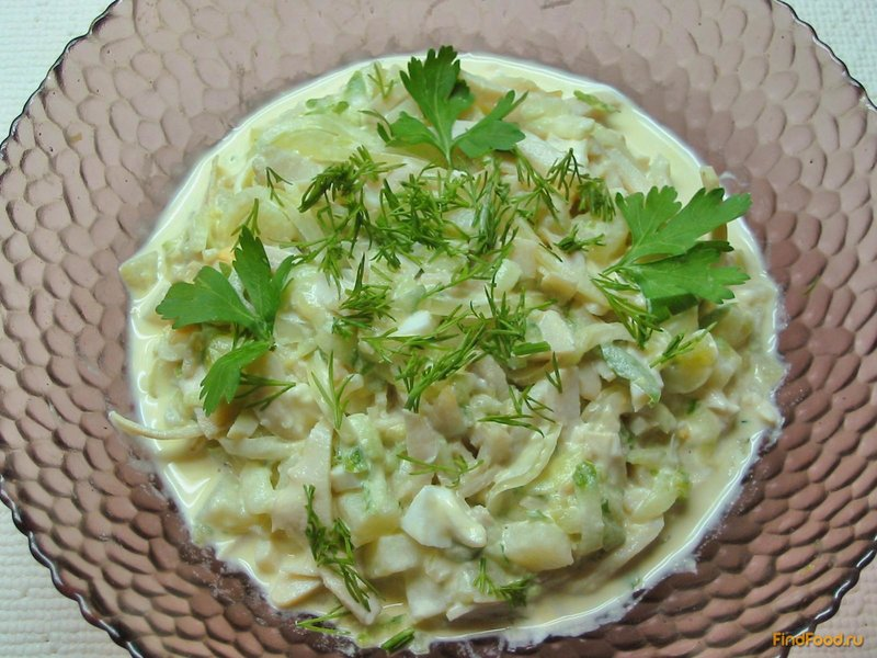 Простой рецепт салата с кальмарами с пошагово