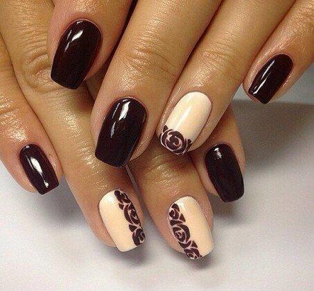 Дизайн ногтей коричневый гель