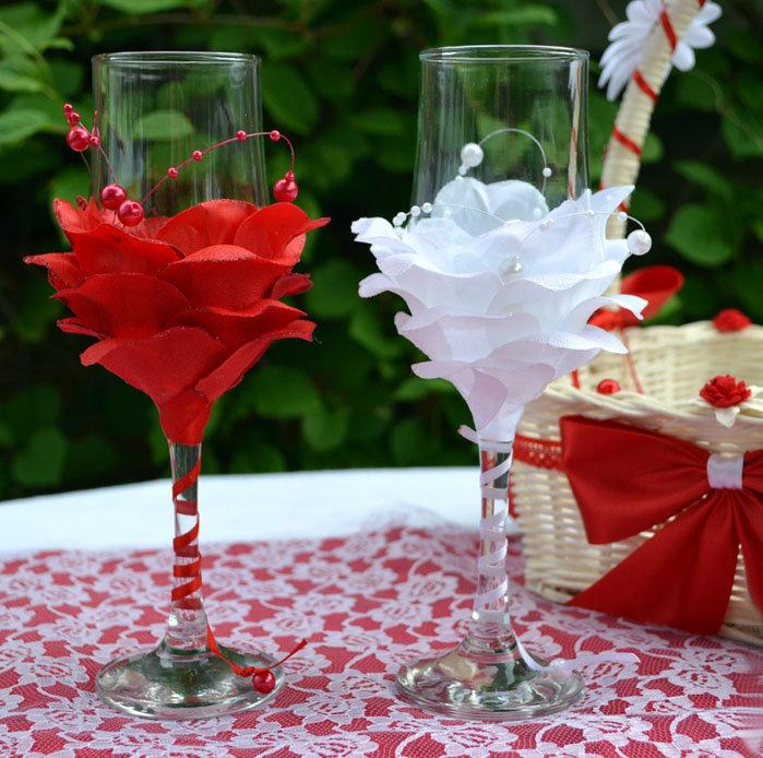 Свадебные бокалы своими руками из лепестков роз