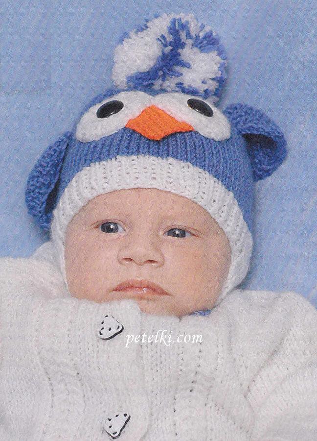 Вязание зимней шапки малышу спицами