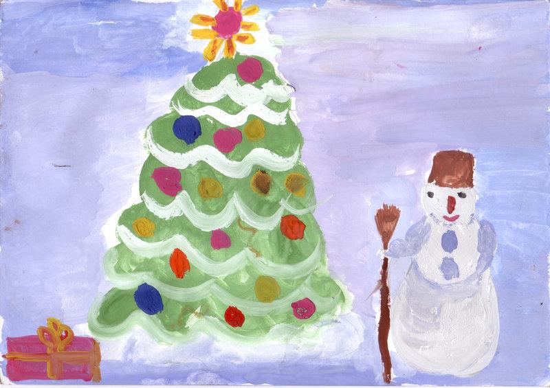 Рисунок с детьми к новому году