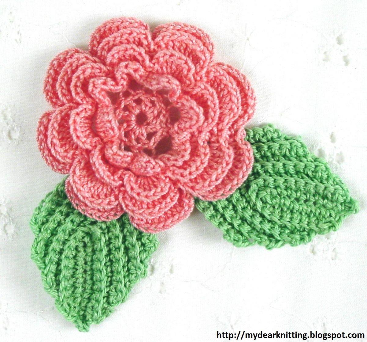 Вязаный цветок схема и фото