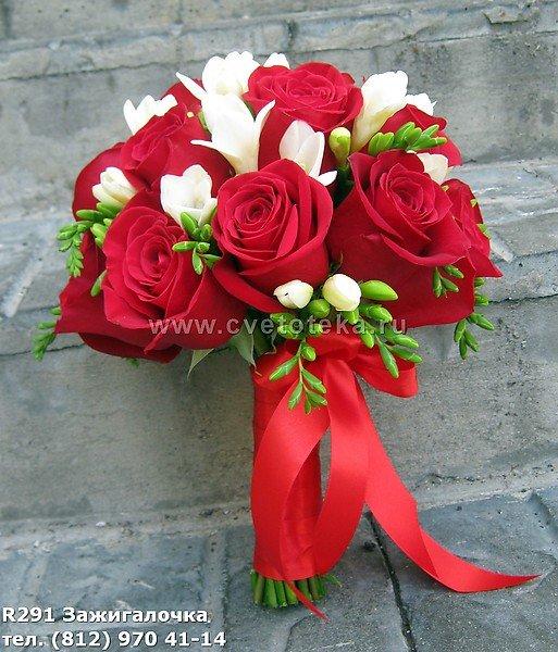 Букеты на свадьбу с красными цветами