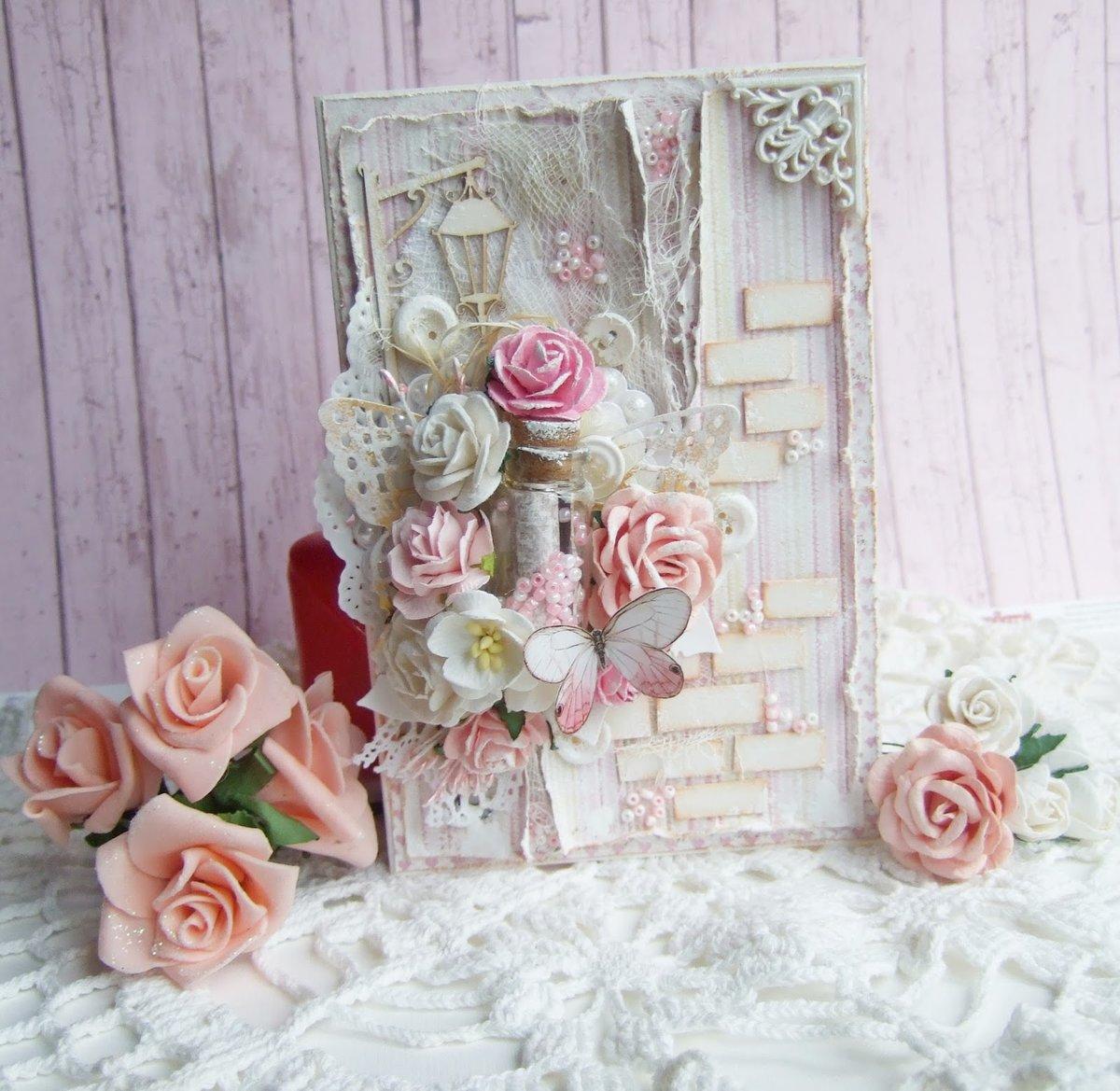 Свадебная открытка своими руками в стиле шебби-шик 6