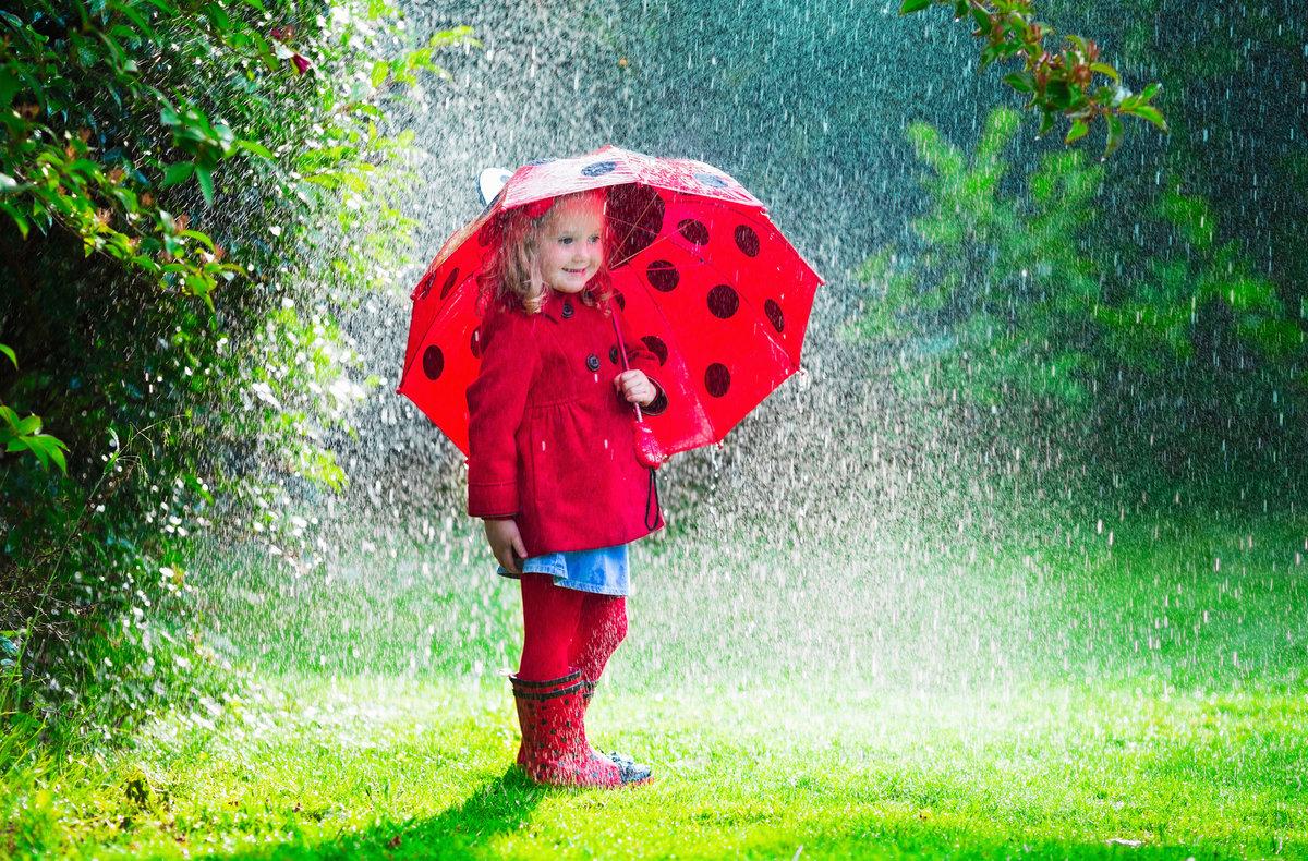 Красивые фото дети и дождь