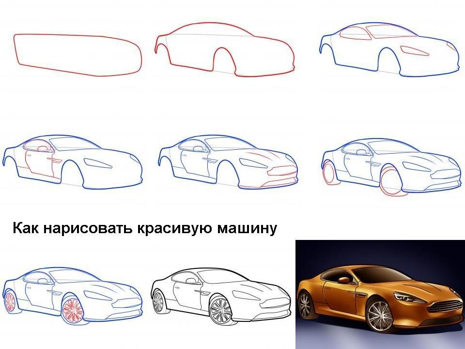 Рисунок с машиной поэтапно