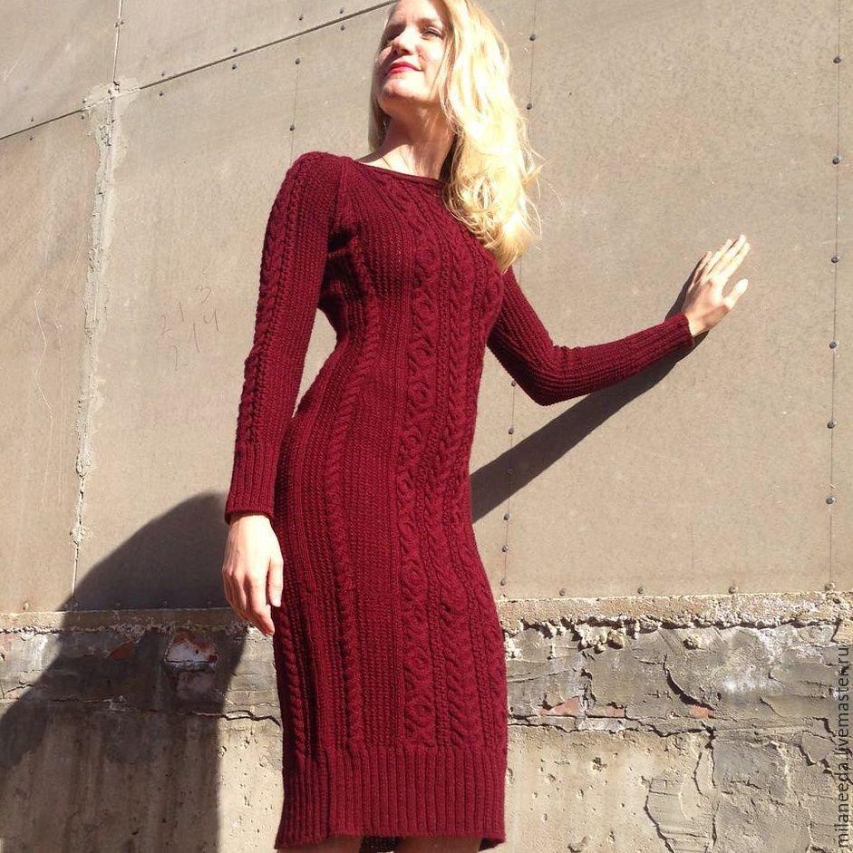 Вязаное платье для женщин спицами марсала схема для вязания веледа 51