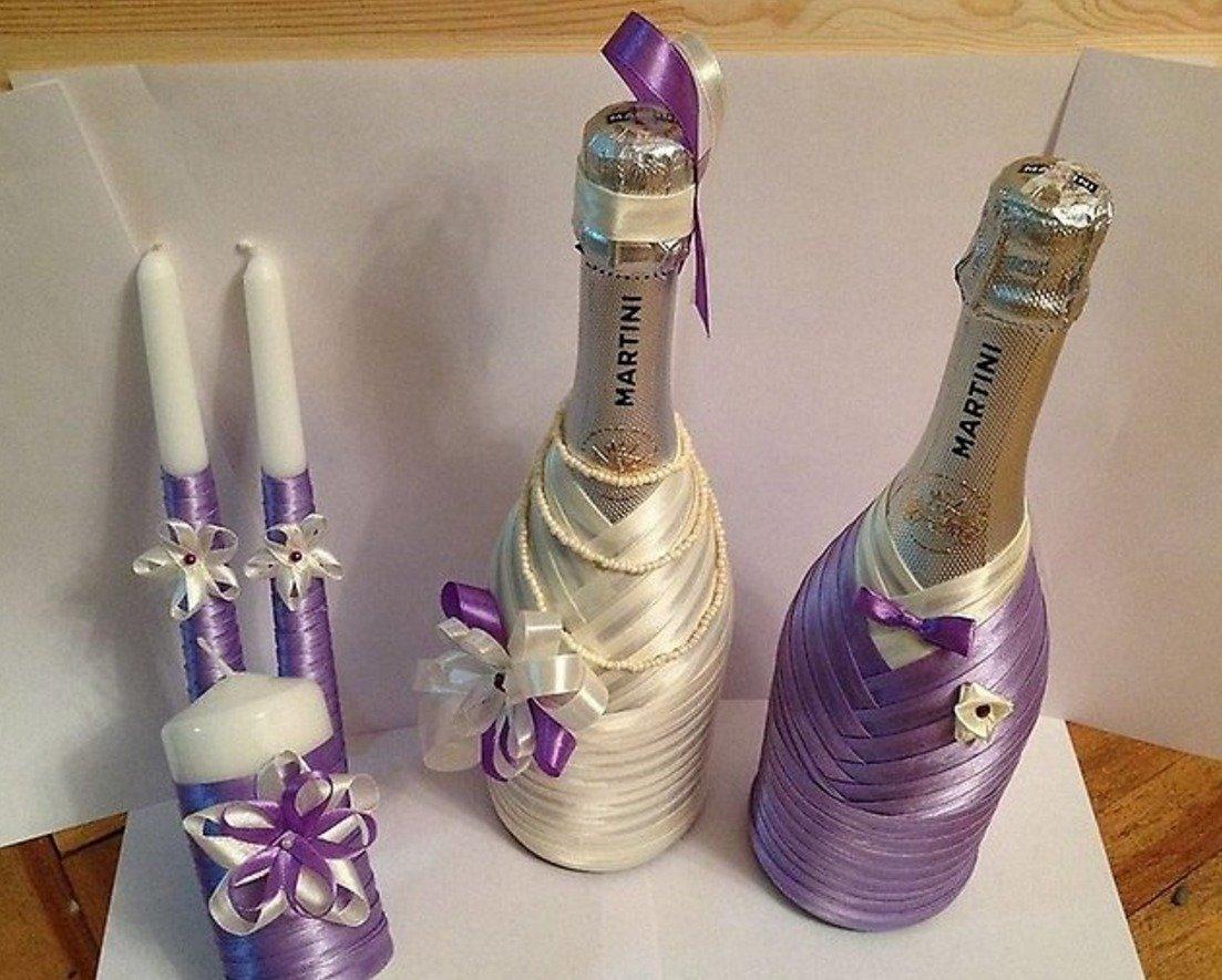 Как сделать свадебные бутылки лентами 628