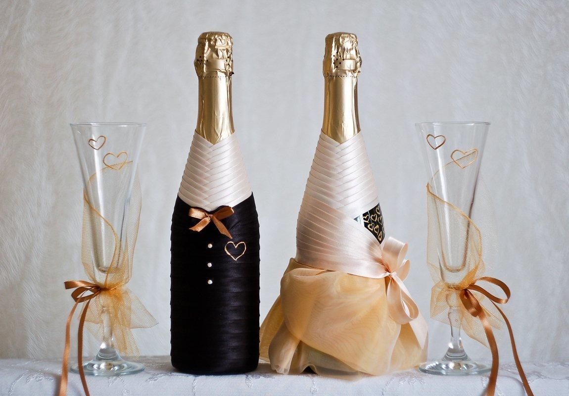 Оформление свадебных бокалов и бутылок 99