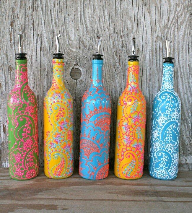 Украшаем стеклянных бутылок своими руками 47