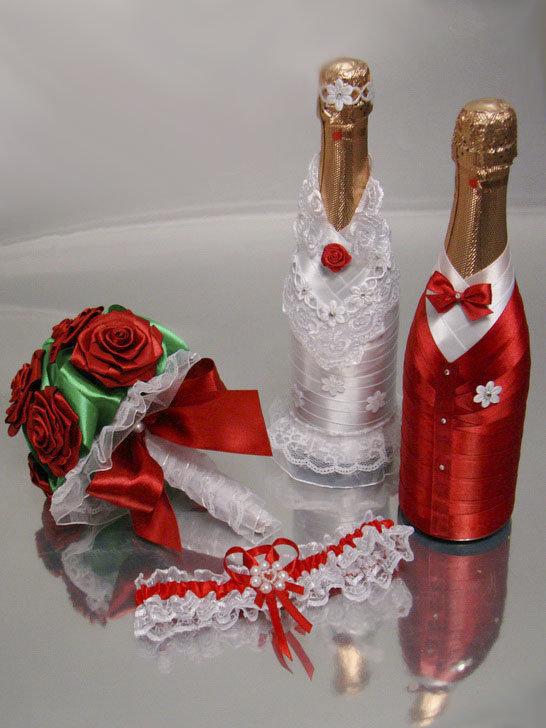 Как сделать свадебные бутылки лентами 265