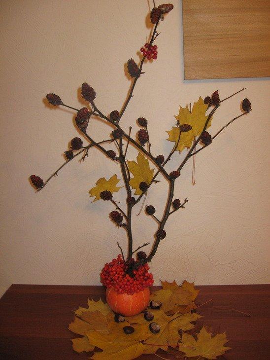 Экибана своими руками осень из листьев 100