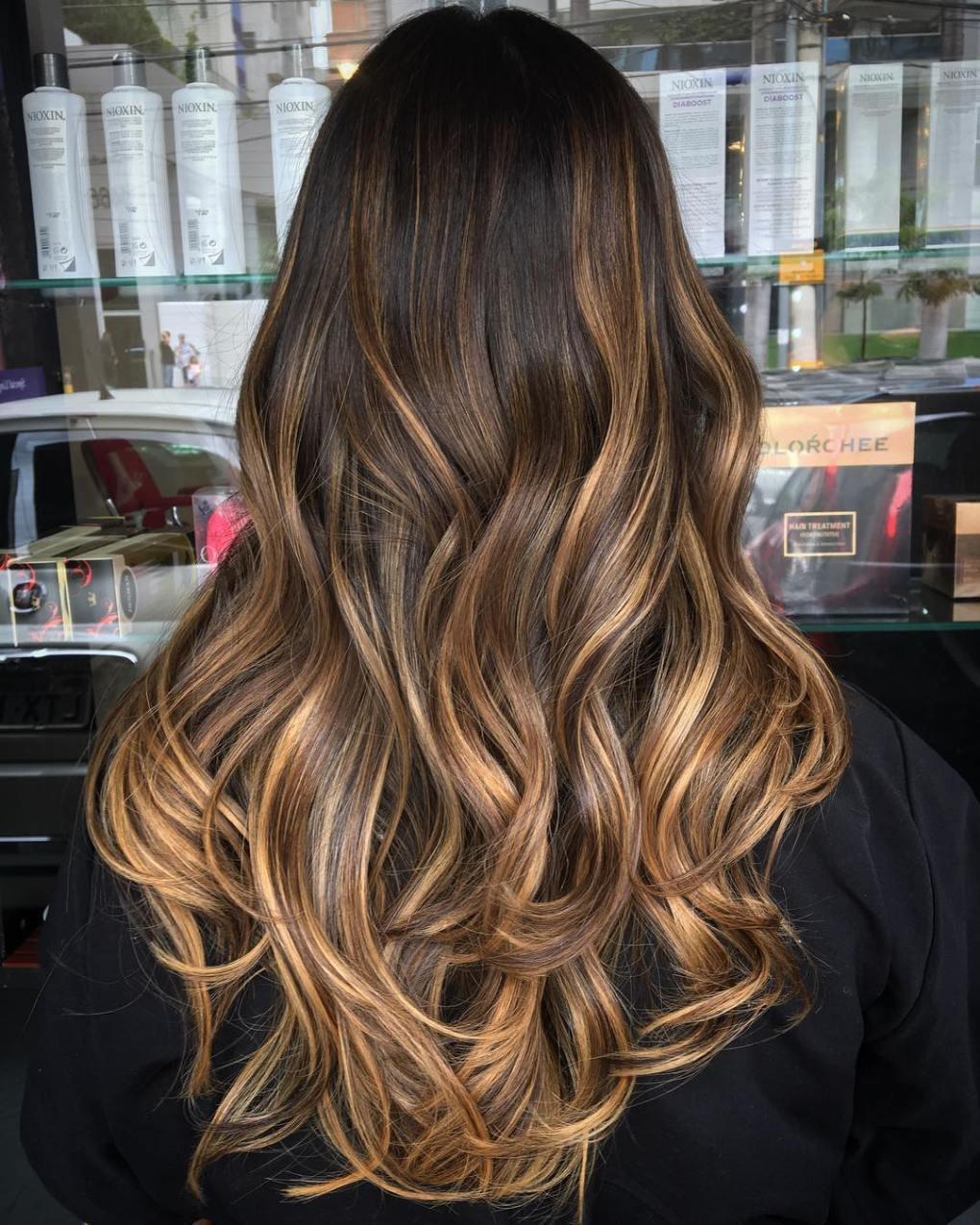 Балаяж на темно коричневые волосы