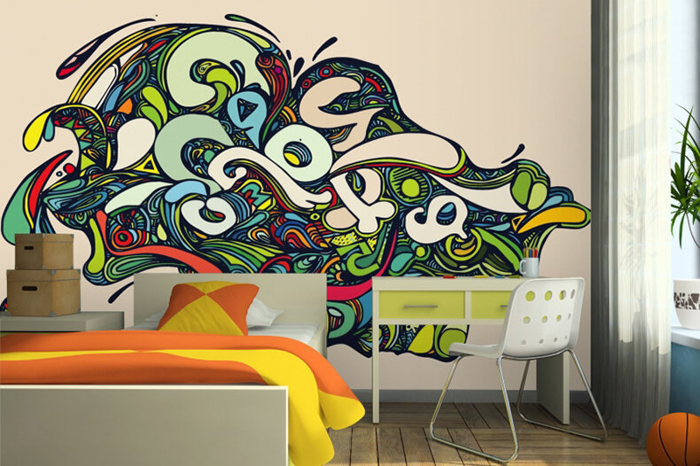 Граффити на стене в комнате своими руками