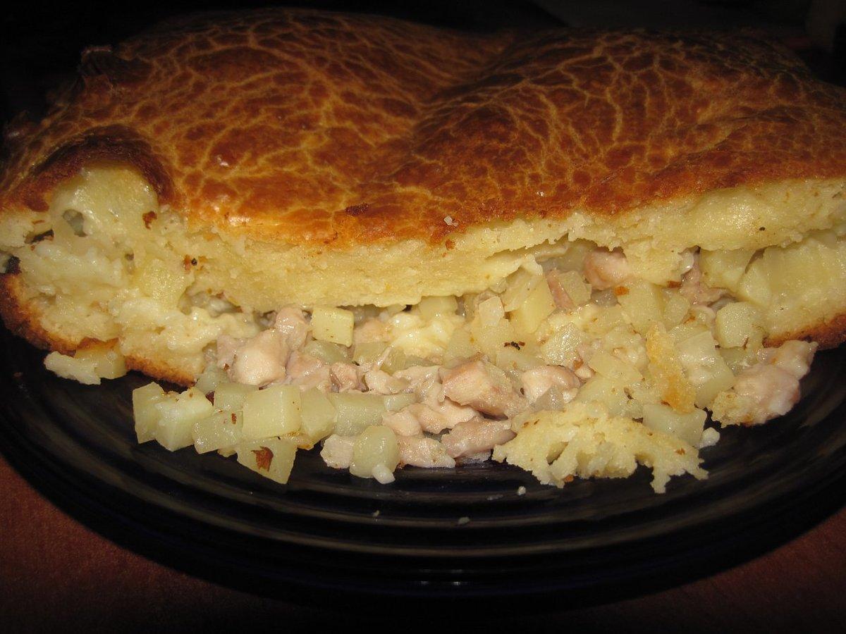 Пирог с курицей и картошкой и грибами в духовке пошаговый рецепт