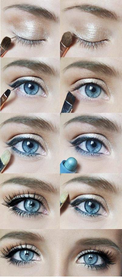 Макияж в домашних условиях на голубые глаза 67