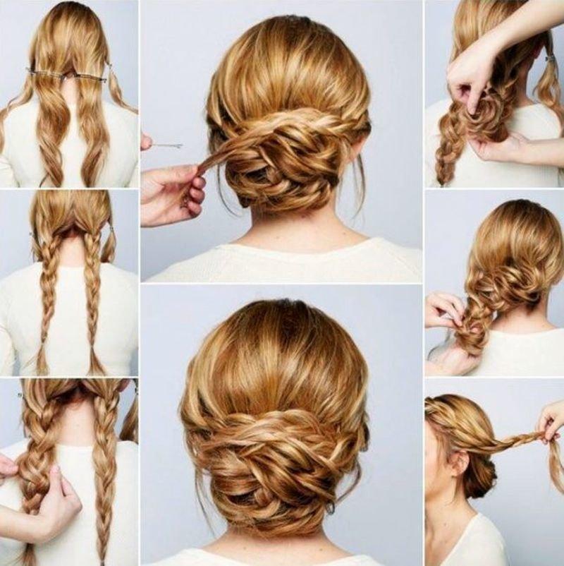 Причёски для длинных волос пучок