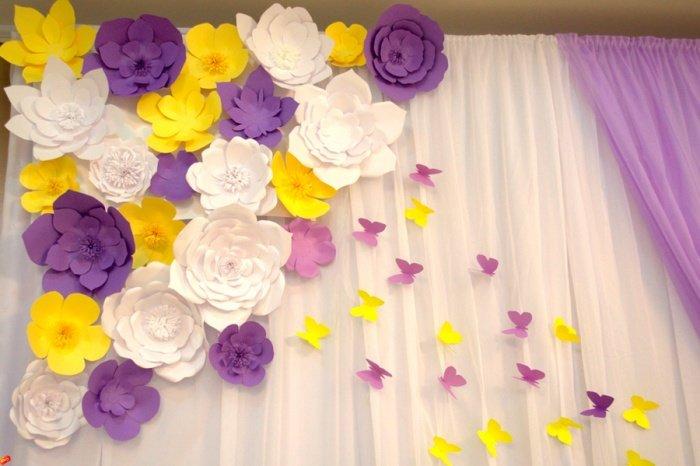Бумажные цветы для декора стен фото 71