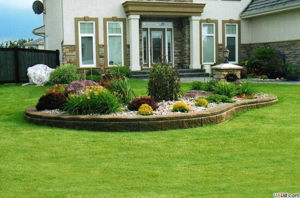 Ландшафтный дизайн клумбы перед домом