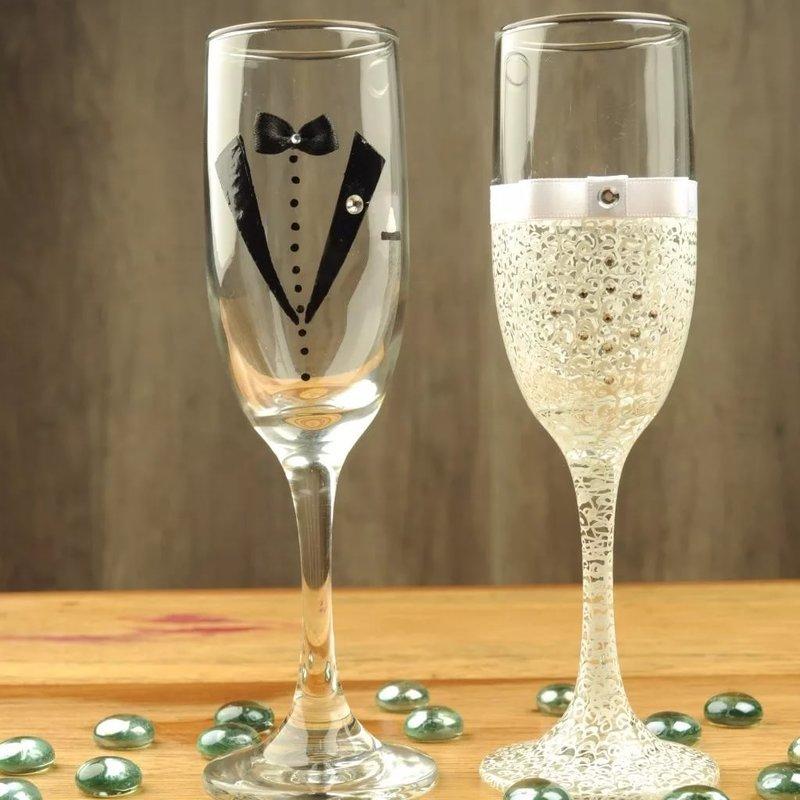 Простые бокала на свадьбу своими руками