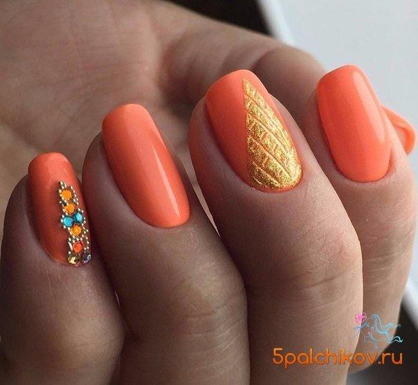 Оранжевый дизайн ногтей новинки