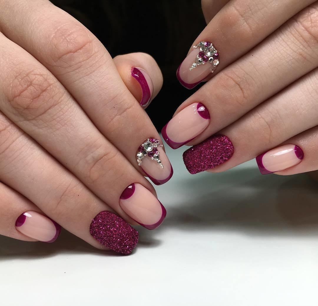 дизайн острых ногтей зима фото