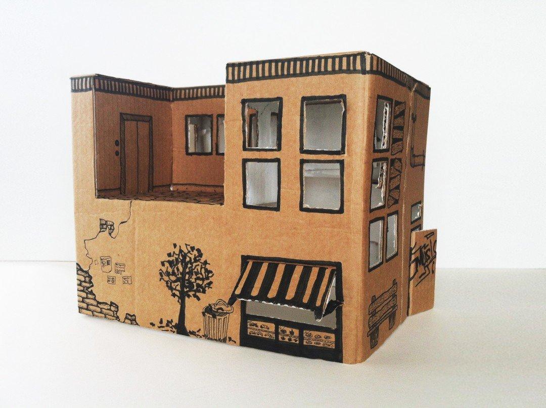 Домик из картонных коробок сделать своими руками 463