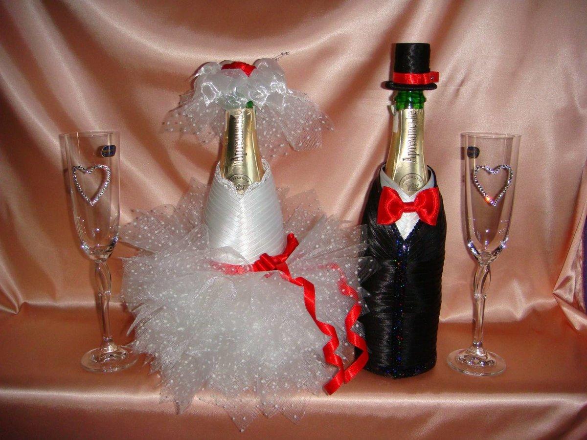 Как сделать украшение на шампанское 837