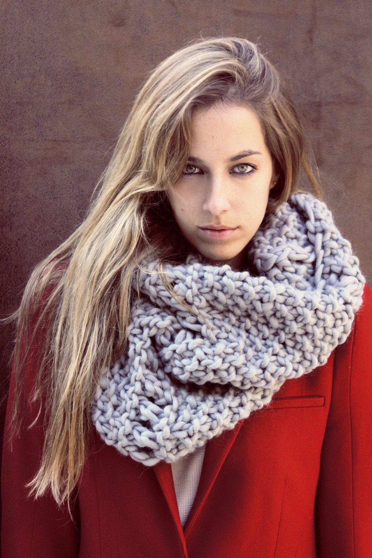 Как связать женский шарф снуд спицами для начинающих 63