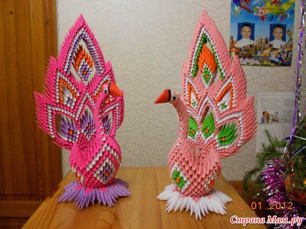 Оригами павлин из модулей своими руками