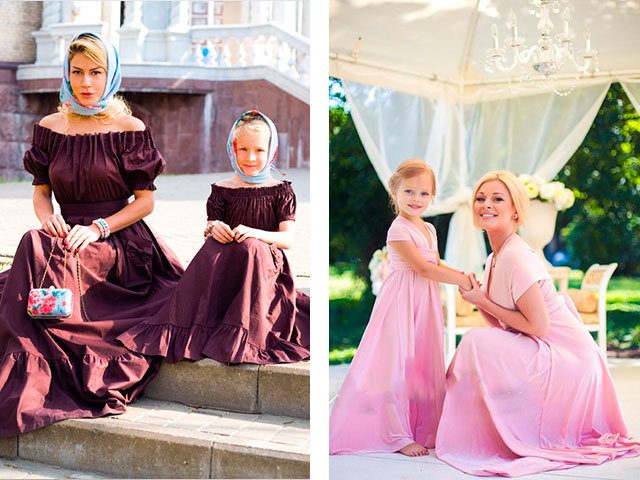 Мама и дочь в одинаковых платьях