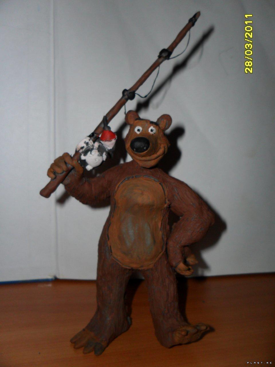 Фото поделка из пластилина робот медведь и заяц 9