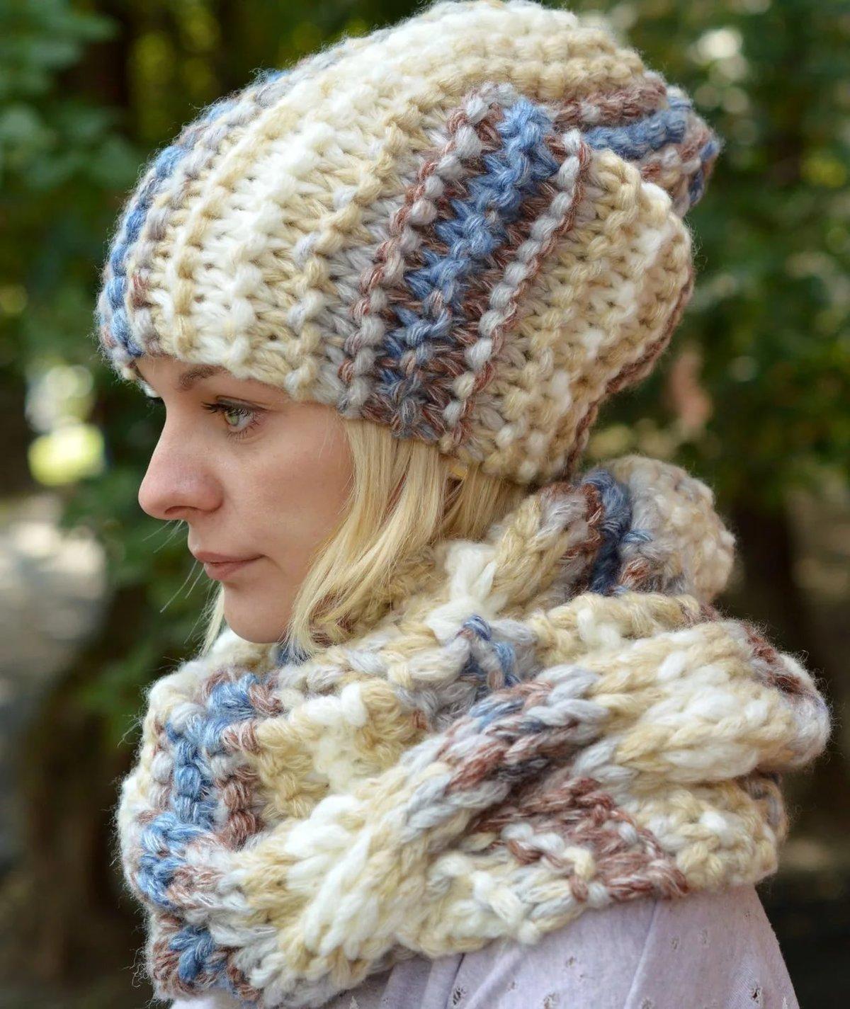 Вязание шапок нет из ниток меланж 84