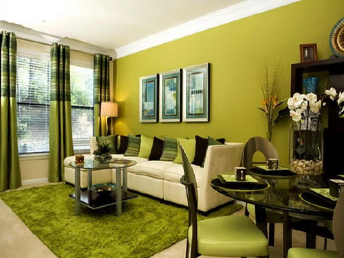 Фото гостиной в зеленых цветах