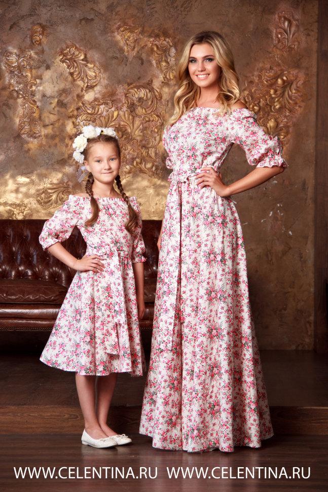 Платье для мамы и дочки в одном стиле сшить 62