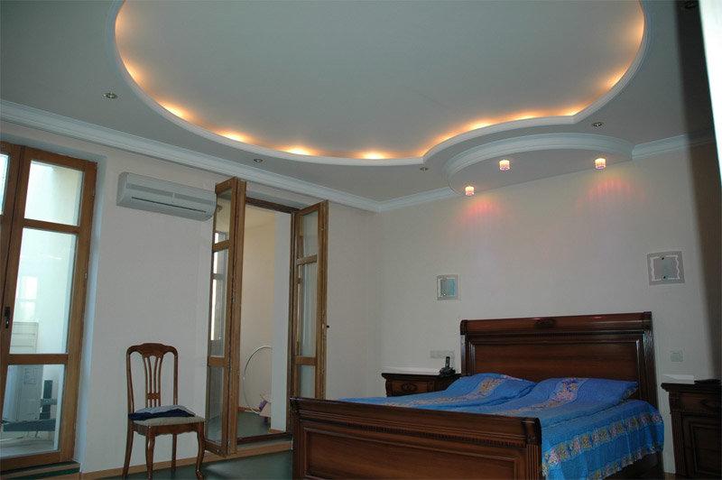 Потолок из гипсокартона своими руками с подсветкой для спальни