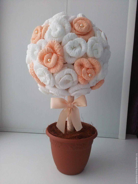 Цветы из салфетки своими руками для топиария